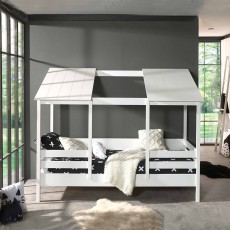 Vipack House Shaped Single (90cm) Bedstead With Two Roof Panels White