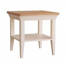 Bellingham Side/Lamp Table Painted Off-White With Oak Top