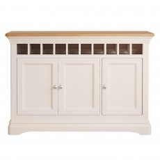 Bellingham 3 Door Drinks Cabinet Painted Off-White With Oak Top