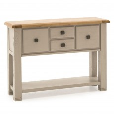 Regan Console Table Washed Oak Taupe & Oak Top