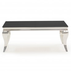 Ordell Narrow Coffee Table Polished Steel & Black Top