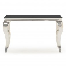 Ordell Console Table Polished Steel & Black Top