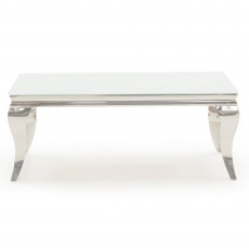 Ordell Narrow Coffee Table Polished Steel & White Top