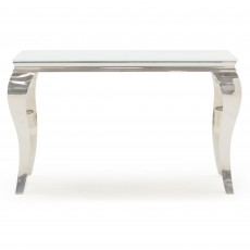Ordell Console Table Polished Steel & White Top