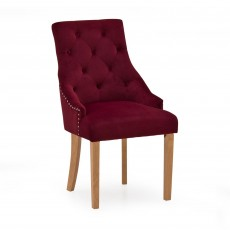 Gradara Dining Chair Velvet Fabric Crimson With Oak Legs