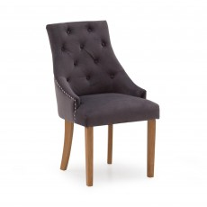 Gradara Dining Chair Velvet Fabric Misty With Oak Legs