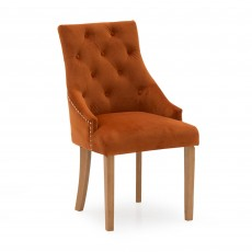 Gradara Dining Chair Velvet Fabric Pumpkin With Oak Legs
