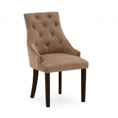 Gradara Dining Chair Velvet Fabric Cedar With Oak Legs