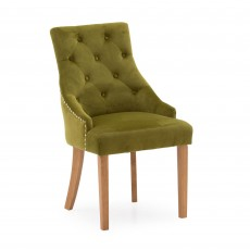 Gradara Dining Chair Velvet Fabric Moss With Oak Legs