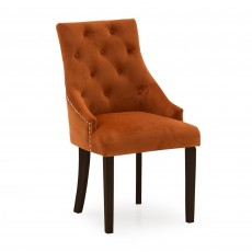 Gradara Dining Chair Velvet Fabric Pumpkin With Wenge Legs