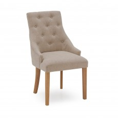 Gradara Dining Chair Linen Fabric Beige