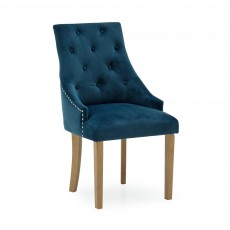 Gradara Dining Chair Velvet Fabric Midnight Blue With Oak Legs