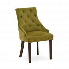 Gradara Dining Chair Velvet Fabric Moss With Wenge Legs