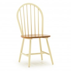 Beleek Dining Chair Painted Buttermilk With Solid Honey Seat