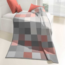 Biederlack Check Throw 150cm x 200cm Coral
