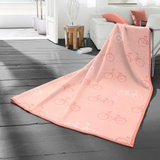 Biederlack Bicycles Reversible Throw 150cm x 200cm Coral
