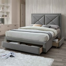 Cezanne Bedstead With 3 Drawers Fabric Grey Marl