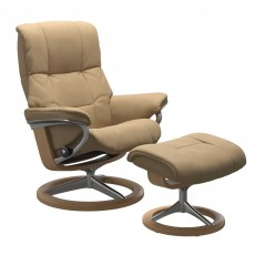 Stressless Mayfair Medium Chair with Signature Base & Footstool Paloma Leather Sand & Oak