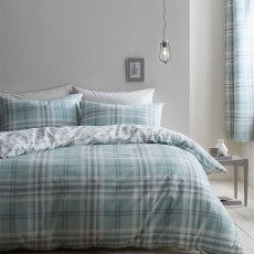 Catherine Lansfield Kelso Reversible Duvet Cover Set Mint