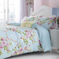 Catherine Lansfield Canterbury Reversible Duvet Cover Set Blue
