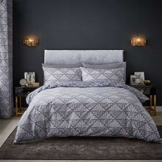 Catherine Lansfield Art Deco Reversible Duvet Cover Set Grey
