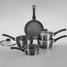 Simply Home Metallic Forged Saucepans (Set of 5) Black + Free 24cm Frying Pan