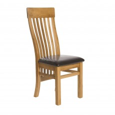 Holly Slatted Back Dining Chair Oak With Fabric Seat Pad