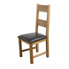 Holly Dining Chair Oak With Fabric Seat Pad