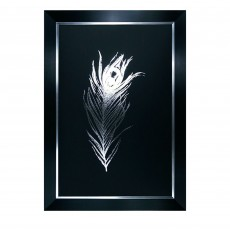 Camelot Silver Foil Feathers I 77cm x 111cm Picture by Grace Popp Black Frame