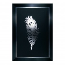 Camelot Silver Foil Feathers II 77cm x 111cm Picture by Grace Popp Black Frame