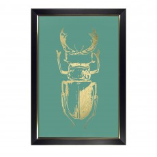 Camelot Gold Foil Beetles I 72cm x 106cm Picture by Renee W. Stramel Black Frame