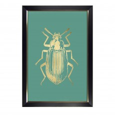Camelot Gold Foil Beetles II 72cm x 106cm Picture by Renee W. Stramel Black Frame
