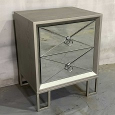 Diamond 2 Drawer Bedside Locker Grey