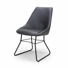 Christy Dining Chair Faux Leather Grey