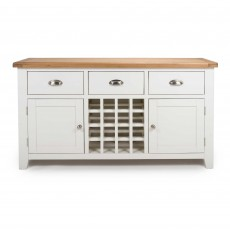 Olivia 2 Door + 3 Drawer Sideboard With Wine Rack White