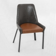 Calabria Dining Chair Faux Leather Grey & Tan