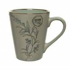 Stoneware Mug With Flowers & Metallic Rim Sage Green 10.5cm