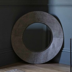 Gallery Targa Round Mirror Distressed Grey