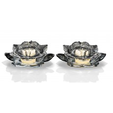 Newgrange Living Colours Black Lotus 12cm Pair Of Tealight Holders