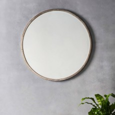 Gallery Higgins Round Mirror Antique Silver