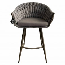 Mindy Brownes Blake High Bar Stool Fabric & Faux Leather Brown