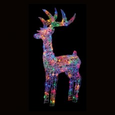 Soft Acrylic Reindeer 115cm With 160 Multicoloured LED Lights