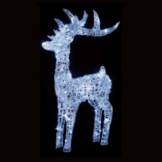 Soft Acrylic Reindeer 115cm With 160 White LED Lights