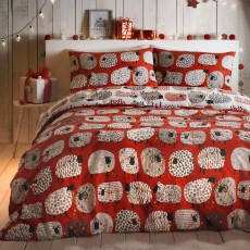 Fusion Christmas Dotty Sheep Reversible Duvet Cover Set Red