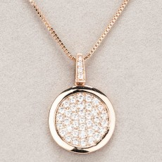 Newgrange Living Diamante Round Pendant Rose Gold
