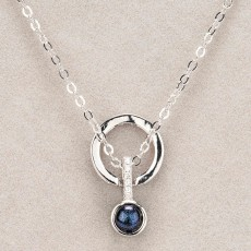 Newgrange Living Diamante Blue Stone Necklace Silver