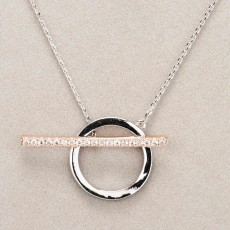 Newgrange Living Diamante T Bar Necklace Silver & Rose Gold