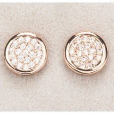 Newgrange Living Diamante Round Earrings Rose Gold