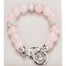 Newgrange Living Diamante & Rose Quartz Bracelet Silver