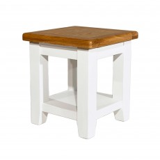Oliva Side/Lamp Table Painted White & Oak Top